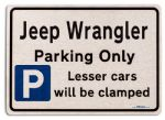 Jeep Wrangler Car Owners Gift| New Parking only Sign | Metal face Brushed Aluminium Jeep Wrangler Model